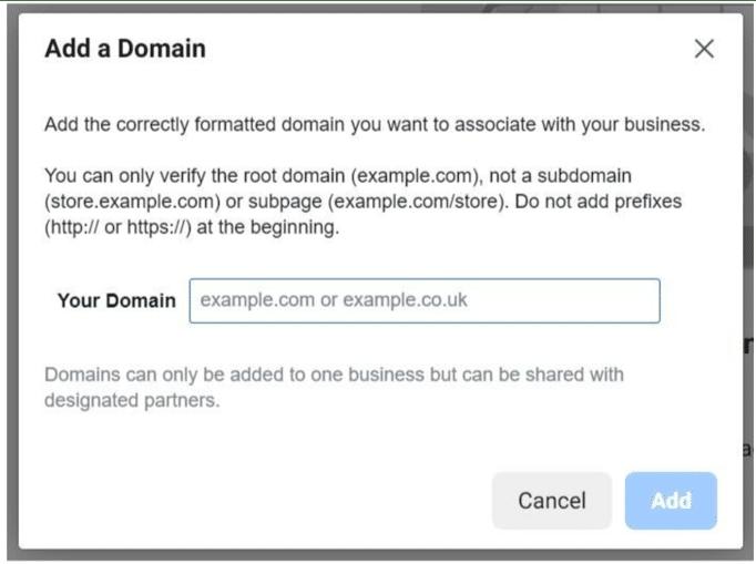 Добавление домена в Facebook