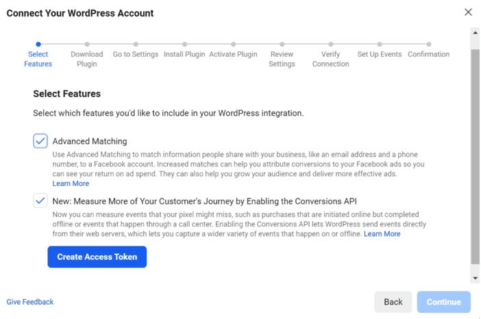 Получение токена доступа Facebook для WordPress
