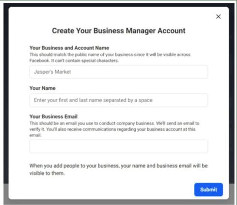 создание бизнес менеджера